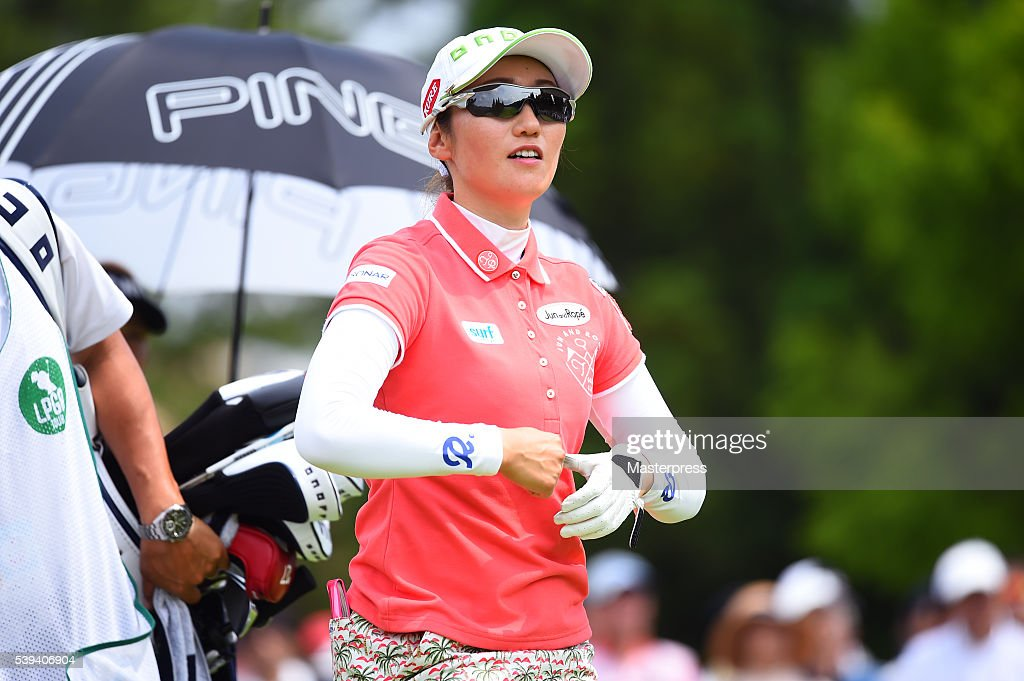 Akane Iijima of Japan looks on during the third round of the Suntory Ladies Open at the Rokko Kokusai Golf Club on June 11, 2016 in Kobe, Japan.