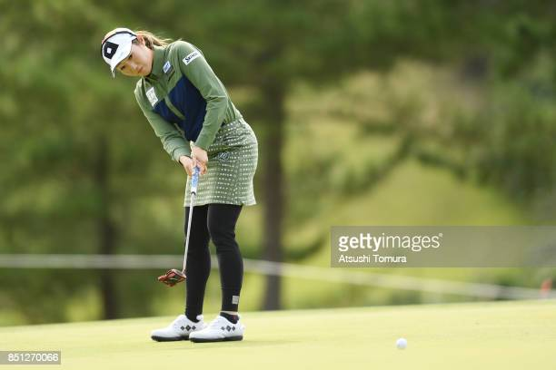 Akane Iijima of Japan putts on the 8th hole during the first round of the Miyagi TV Cup Dunlop Ladies Open 2017 at the Rifu Golf Club on September 22...