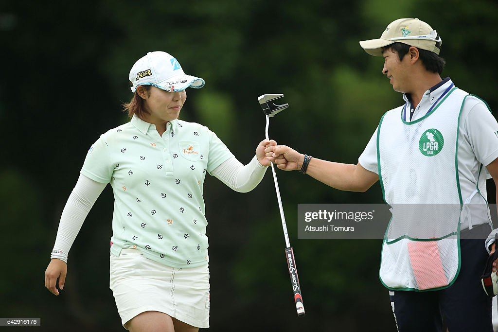 Akane Saeki of Japan celebrates after making her birdie putt on the 16th hole during the third round of the Earth Mondamin Cup at the Camellia Hills Country Club on June 25, 2016 in Sodegaura, Japan.