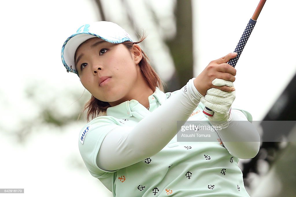 Akane Saeki of Japan hits her tee shot on the 17th hole during the third round of the Earth Mondamin Cup at the Camellia Hills Country Club on June 25, 2016 in Sodegaura, Japan.