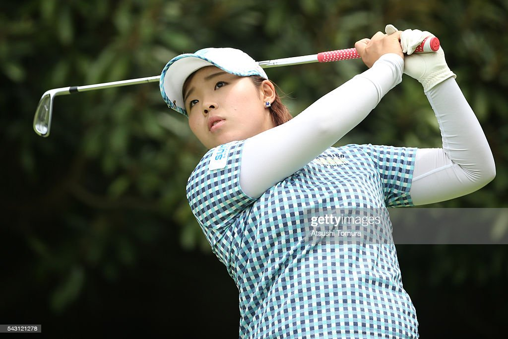 <a gi-track='captionPersonalityLinkClicked' href=/galleries/search?phrase=Akane+Saeki&family=editorial&specificpeople=14248670 ng-click='$event.stopPropagation()'>Akane Saeki</a> of Japan hits her tee shot on the 4th hole during the final round of the Earth Mondamin Cup at the Camellia Hills Country Club on June 25, 2016 in Sodegaura, Japan.
