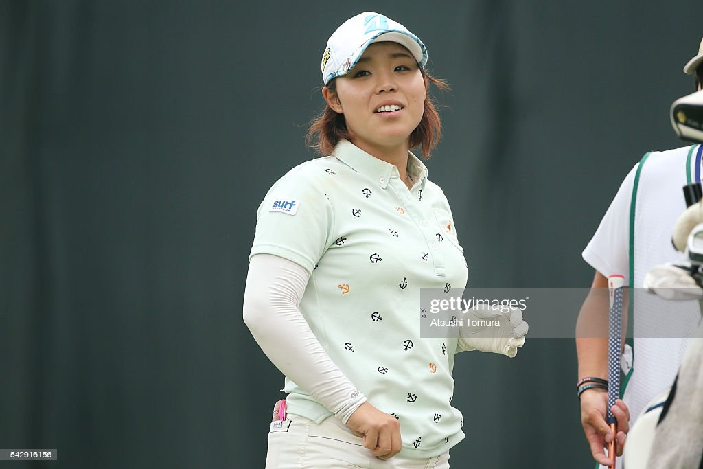 Akane Saeki of Japan smiles during the third round of the Earth Mondamin Cup at the Camellia Hills Country Club on June 25, 2016 in Sodegaura, Japan.
