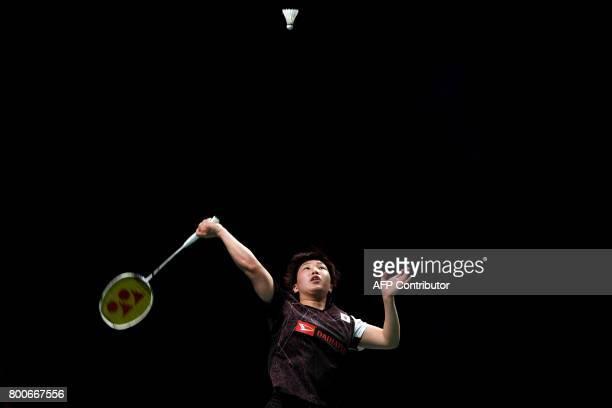 TOPSHOT Akane Yamaguchi of Japan hits a return to compatriot Nozomi Okuhara during their Australian Open women's singles badminton final in Sydney on...