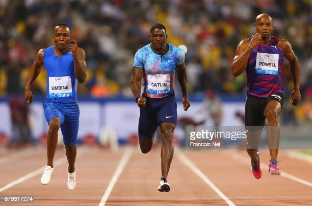Akani Simbine of South Africa Justin Gatlin of the United States Asafa Powell of Jamaica compete in the Men's 100 metres during the Doha IAAF Diamond...