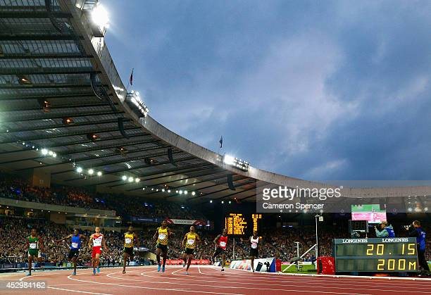 Akani Simbine of South Africa Mosito Lehata of Lesotho Danny Talbot of England Bronze medalist Jason Livermore of Jamaica gold medalist Rasheed Dwyer...