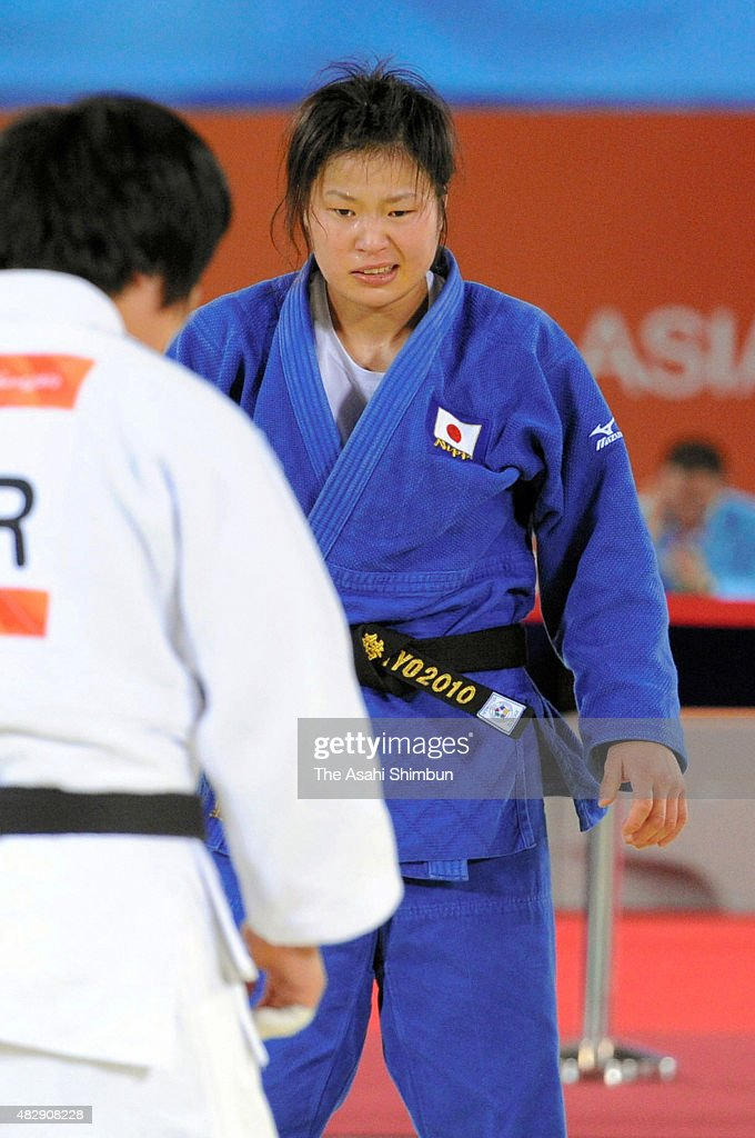 <a gi-track='captionPersonalityLinkClicked' href=/galleries/search?phrase=Akari+Ogata&family=editorial&specificpeople=6583429 ng-click='$event.stopPropagation()'>Akari Ogata</a> (blue) of Japan reacts after being defeated by Jeong Gyeong-Mi of South Korea in the Judo Women's -78kg final on day one of the Guangzhou Asian Games at Huagong Gymnasium on November 13, 2010 in Guangzhou, China.