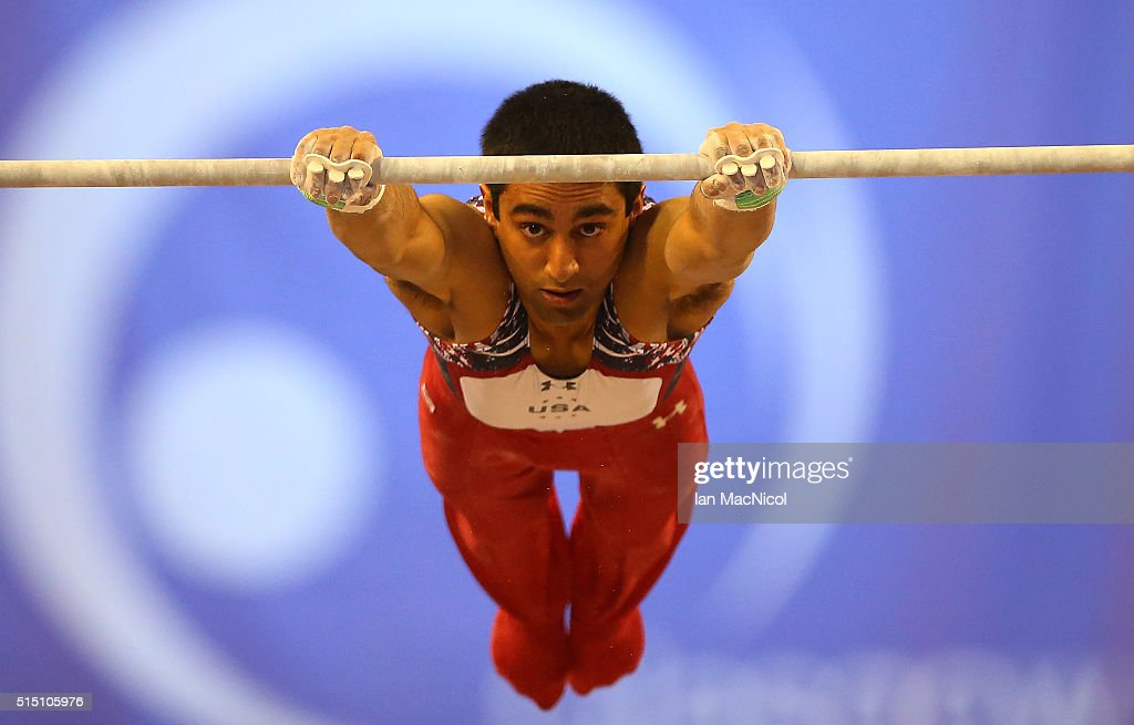 Akash Modi of United States competes on the High Bar during the 2016 FIG Artistic World Cup at The Emirates Arena on March 12, 2016 in Glasgow, Scotland.