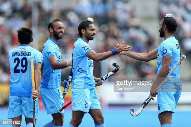 Akashdeep Singh of India celebrates scoring the fifth goal for India during the Hero Hockey World League Semi Final match between Pakistan and India...