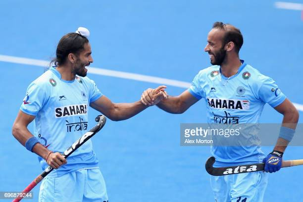 Akashdeep Singh of India celebrates scoring the second goal for India during the Hero Hockey World League Semi Final match between Canada and India...