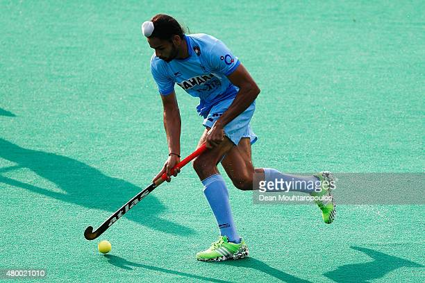 Akashdeep Singh of India in action during the Fintro Hockey World League SemiFinal match between India and Belgium held at KHC Dragons Gemeentepark...