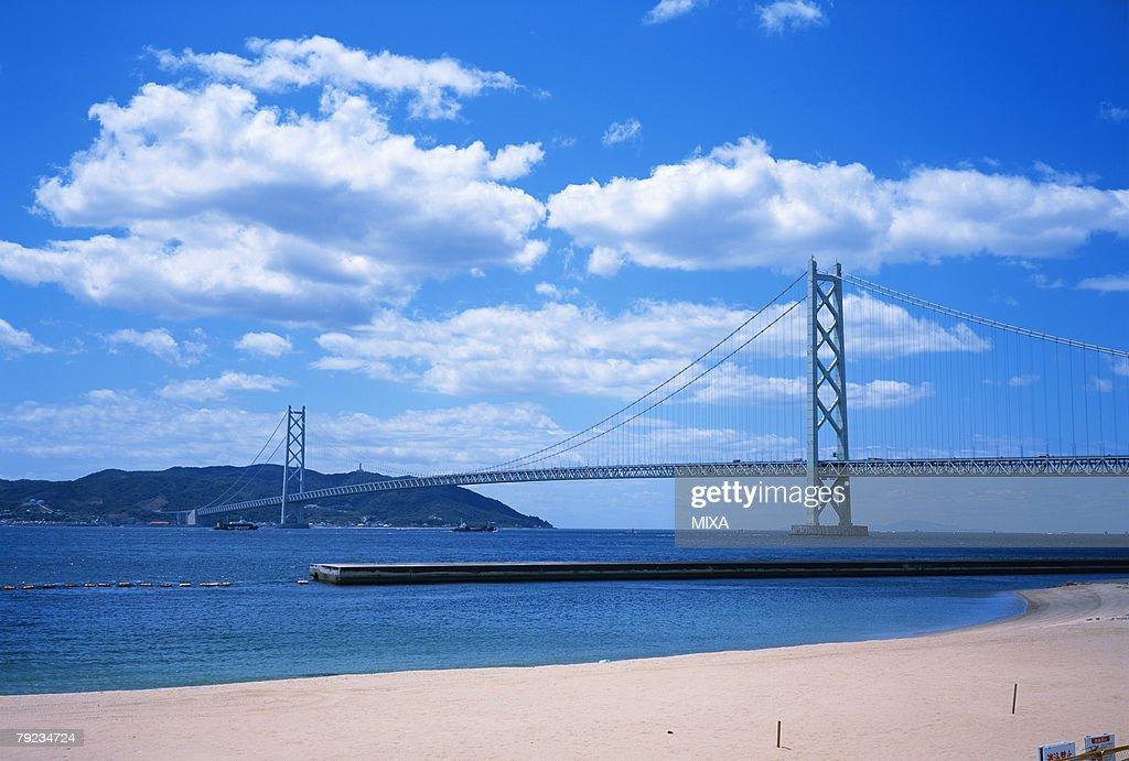 Akashi Kaikyo Bridge, Kobe, Hyogo Prefecture, Japan : Stock Photo