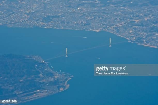 Akashi Strait Bridge, daytime aerial view from airplane