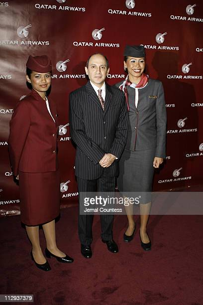 Akbar Al Baker CEO of Qatar Airlines with flight crew