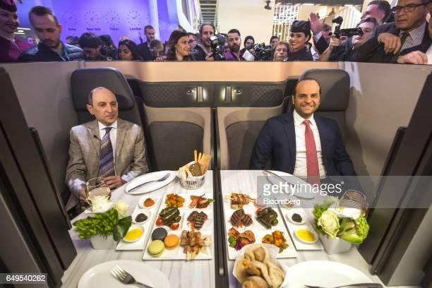 Akbar Al Baker chief executive officer of Qatar Airways Ltd left and Qatar's Sheikh Saoud Bin Abdulrahman AlThani sit in the new seating for Qatar...