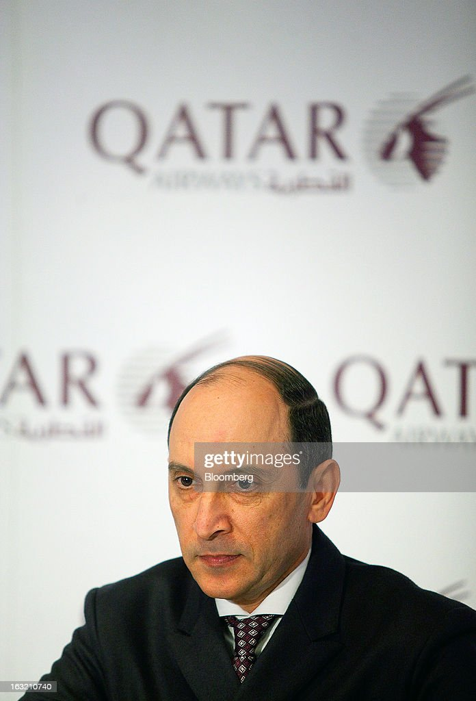 Akbar Al Baker, chief executive officer of Qatar Airways Ltd., pauses during a news conference at the ITB tourism fair in Berlin, Germany, on Wednesday, March 6, 2013. Al Baker said he was told by Airbus SAS that the smallest variant of its new A350 plane wouldn't see the light of day and dropped his order, a claim the manufacturer disputes. Photographer: Krisztian Bocsi/Bloomberg via Getty Images