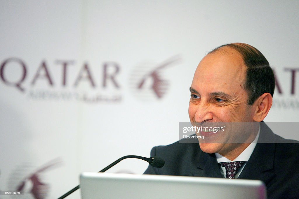 Akbar Al Baker, chief executive officer of Qatar Airways Ltd., reacts during a news conference at the ITB tourism fair in Berlin, Germany, on Wednesday, March 6, 2013. Al Baker said he was told by Airbus SAS that the smallest variant of its new A350 plane wouldn't see the light of day and dropped his order, a claim the manufacturer disputes. Photographer: Krisztian Bocsi/Bloomberg via Getty Images