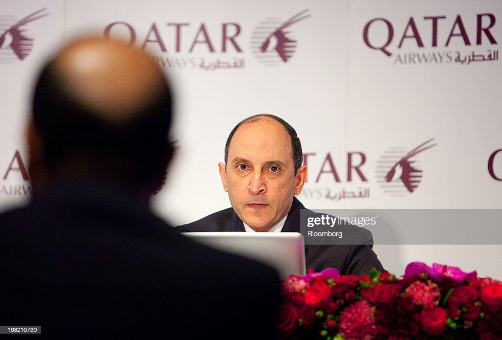 Akbar Al Baker, chief executive officer of Qatar Airways Ltd., speaks during a news conference at the ITB tourism fair in Berlin, Germany, on Wednesday, March 6, 2013. Al Baker said he was told by Airbus SAS that the smallest variant of its new A350 plane wouldn't see the light of day and dropped his order, a claim the manufacturer disputes. Photographer: Krisztian Bocsi/Bloomberg via Getty Images