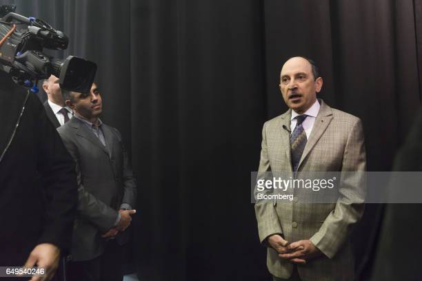 Akbar Al Baker chief executive officer of Qatar Airways Ltd speaks to members of the media during the unveiling of the airline's new seating at the...