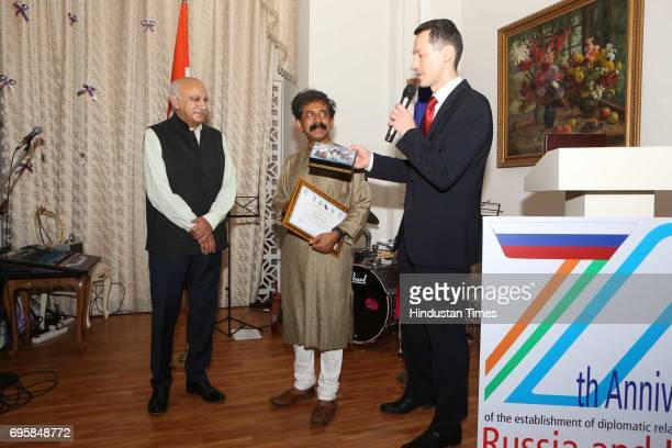 Akbar and Anatoly Kargapolov during the celebration of the National Day of Russia hosted by the Embassy of the Russian Federation on June 12 2017 in...
