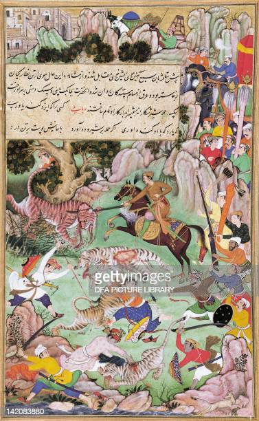 Akbar tiger hunting miniature by Basawan from the Book of Akbar India 16th Century