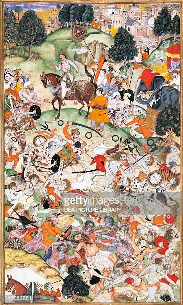 Akbar witnesses fighting amongst ascetics miniature by Basawan from the Book of Akbar Mughal art India 16th Century