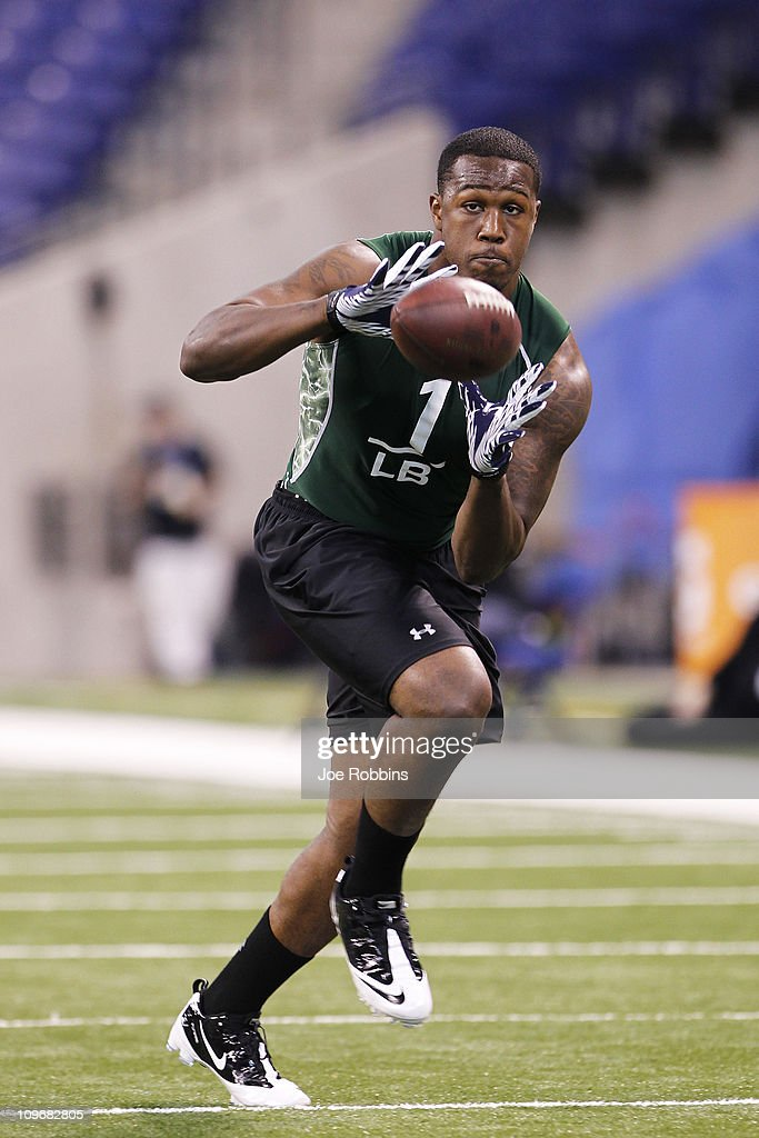 Akeem Ayers of UCLA works out during the 2011 NFL Scouting Combine at Lucas Oil Stadium on February 28, 2011 in Indianapolis, Indiana.