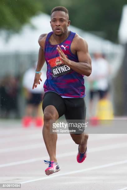 Akeem Hayes running in the 100m heats at the Canadian Track and Field Championships onJuly 07 2017 at the Terry Fox Athletic Facility in Ottawa Canada
