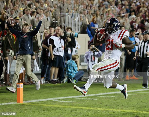Akeem Judd of the Mississippi Rebels runs for a 21 yard touchdown in the fourth quarter against the Texas AM Aggies at Kyle Field on November 12 2016...