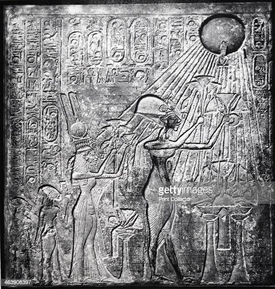 Akhenaten heretic Egyptian pharaoh Relief originally in the Temple of the Sun Thebes showing Akhenaten with his wife Nefertiti and their two...