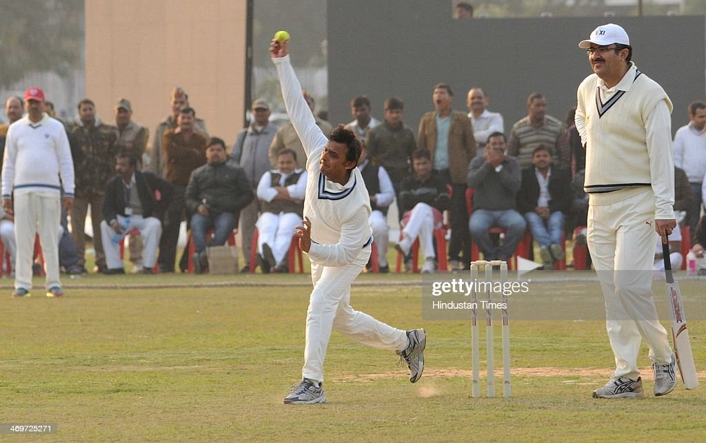 Akhilesh Yadav Cheif Minister of Uttar Pradesh in a bowling action during a cricket match beetween CM XI and IAS Xi at Lamarts ground on February 16...