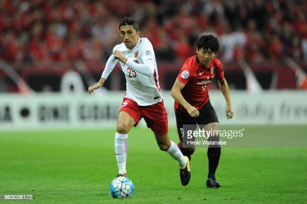 Akhmedov of Shanghai SIPG in action during the AFC Champions League semi final second leg match between Urawa Red Diamonds and Shanghai SIPG at...