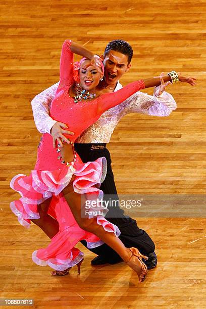 Akhmet Kal and Khristina Ivo of Kazakhstan complete in the Latin Five Dances Competition of the Dance Sports at the Zengcheng Gymnasium during day...