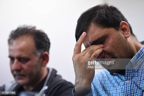Akhtar Iqbal husband of Sugra Dawood and Mohammed Shoaib husband of Khadija Dawood react during a news conference to appeal for their return in...