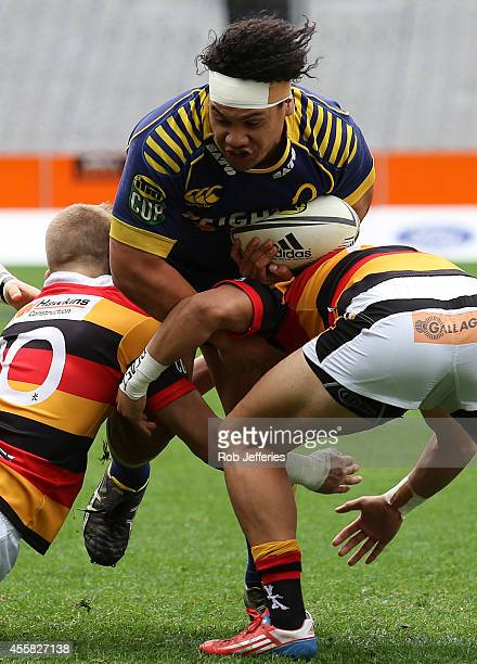 Aki Seiuli of Otago on the charge during the round six ITM Cup match between Otago and Waikato at Forsyth Barr Stadium on September 21 2014 in...