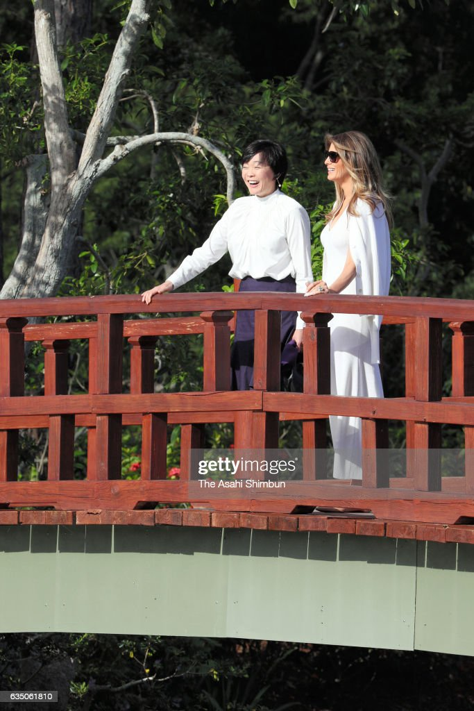 Akie Abe and Melania Trump visit the Morikami Museum and Japanese Gardens on February 11, 2017 in Delray Beach, Florida. Japanese Prime Minister Shinzo Abe played golf with U.S. President Donald Trump, while North Korea launched a ballistic missile into the Sea of Japan.