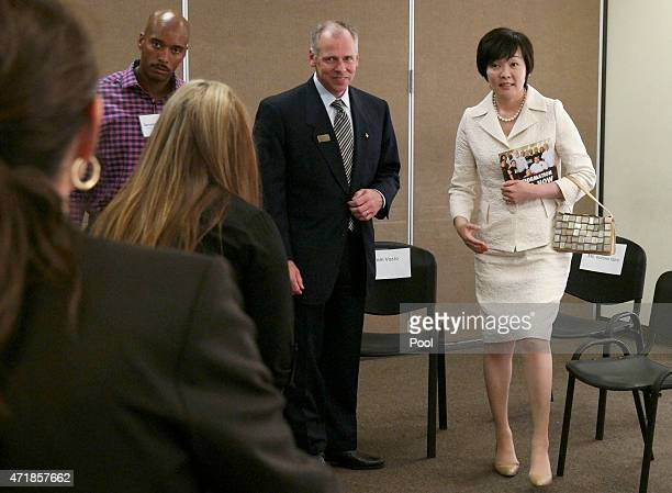 Akie Abe the wife of the Prime Minister of Japan Shinzo Abe meets with CEO Thomas Vozzo and employees at Homeboy Industries on May 1 2015 in Los...