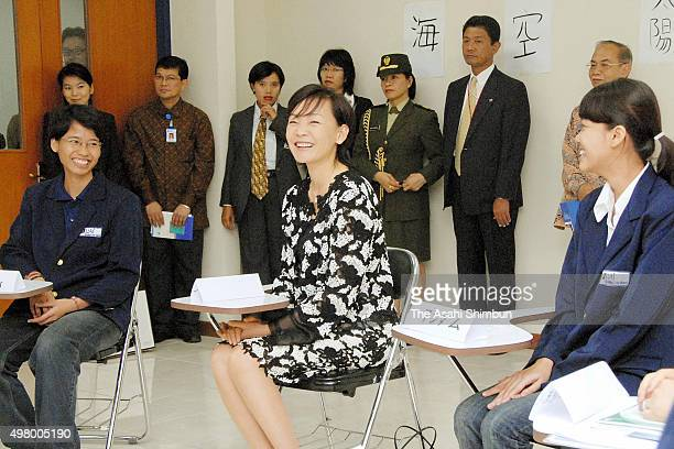 Akie Abe wife of Japanese Prime Minister Shinzo Abe visits AlAzhar University on August 20 2007 in Jakarta Indonesia