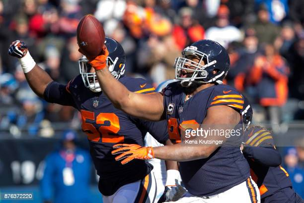 Akiem Hicks of the Chicago Bears celebrates after the Bears recovered a fumble in the first quarter against the Detroit Lions at Soldier Field on...