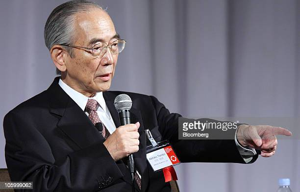 Akihiko Tembo chairman of Idemitsu Kosan Co speaks at the 12th Nikkei Global Management Forum in Tokyo Japan on Monday Oct 25 2010 The forum will be...