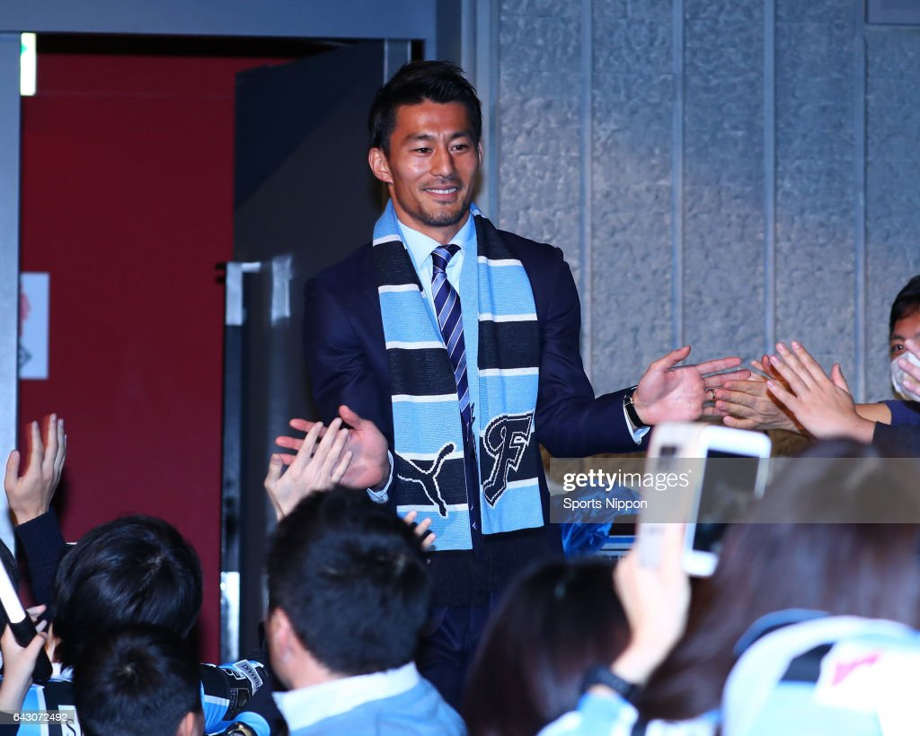 Akihiro Ienaga appears on stage giving high-fives to the fans at the Kawasaki Frontale new season roster announcement on January 22, 2017 in Kawasaki, Kanagawa, Japan.