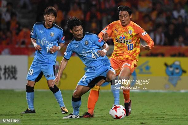 Akihiro Ienaga of Kawasaki Frontale and Yu Hasegawa of Shimizu SPulse compete for the ball during the JLeague J1 match between Shimizu SPulse and...