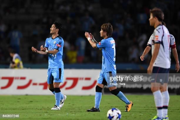 Akihiro Ienaga of Kawasaki Frontale celebrates scoring his side's first goal during the JLeague Levain Cup quarter final first leg match between...