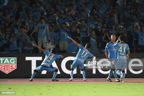 Akihiro Ienaga of Kawasaki Frontale celebrates scoring his side's third goal with his team mates during the JLeague J1 match between Kawasaki...