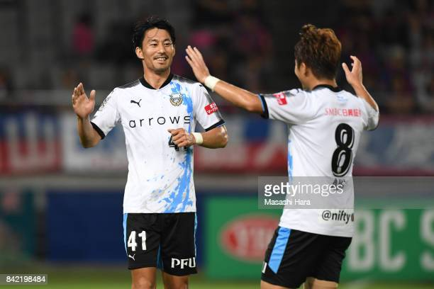 Akihiro Ienaga of Kawasaki Frontale celebrates the first goal during the JLeague Levain Cup quarter final second leg match between FC Tokyo and...