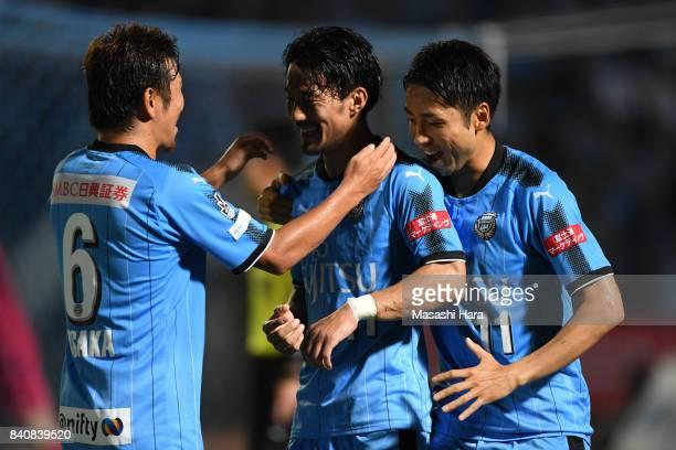 Akihiro Ienaga of Kawasaki Frontale celebrates the second goal during the JLeague Levain Cup quarter final first leg match between Kawasaki Frontale...