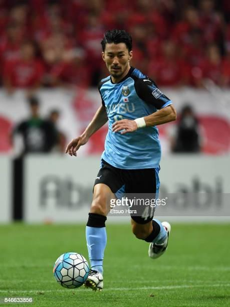 Akihiro Ienaga of Kawasaki Frontale in action during the AFC Champions League quarter final second leg match between Urawa Red Diamonds and Kawasaki...