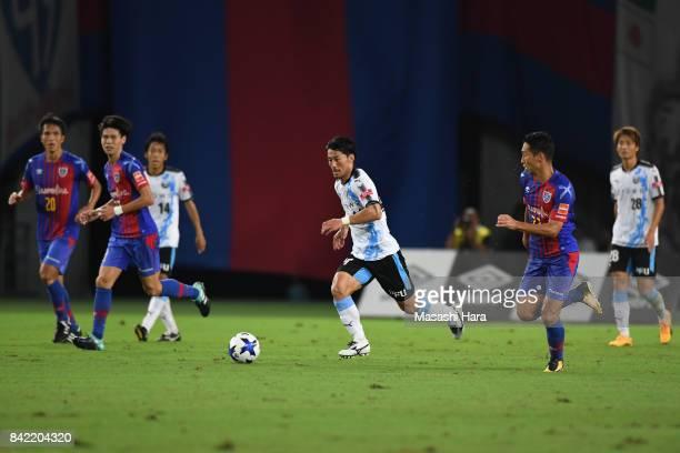 Akihiro Ienaga of Kawasaki Frontale in action during the JLeague Levain Cup quarter final second leg match between FC Tokyo and Kawasaki Frontale at...