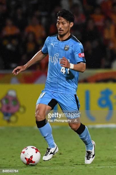 Akihiro Ienaga of Kawasaki Frontale in action during the JLeague J1 match between Shimizu SPulse and Kawasaki Frontale at IAI Stadium Nihondaira on...