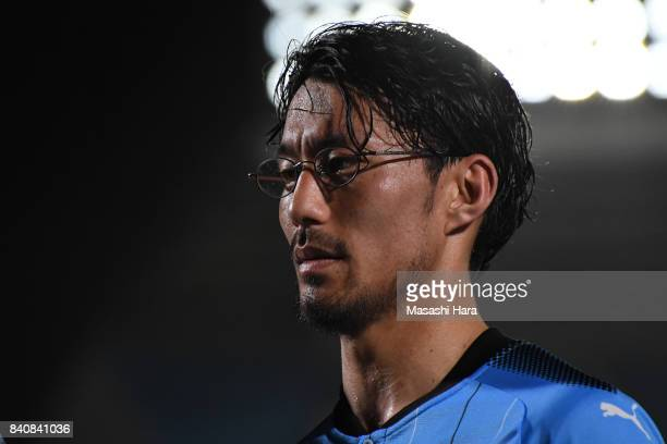 Akihiro Ienaga of Kawasaki Frontale puts on glasses after the JLeague Levain Cup quarter final first leg match between Kawasaki Frontale and FC Tokyo...
