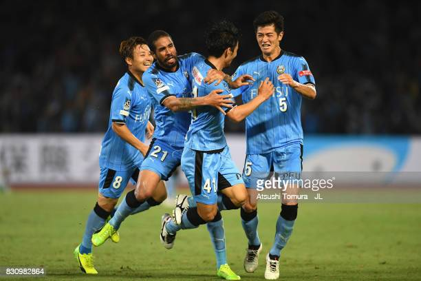 Akihiro Ienaga of Kawasaki Frontale scores his side's third goal with his team mates during the JLeague J1 match between Kawasaki Frontale and...